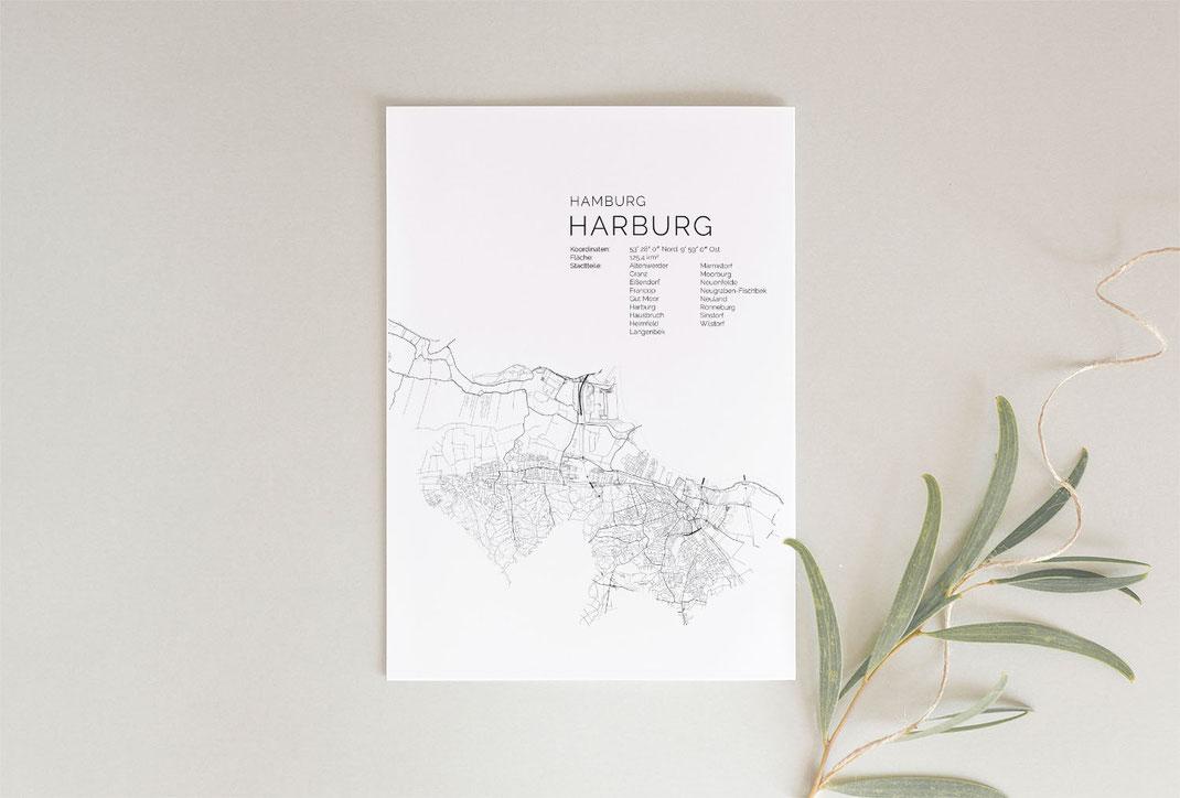 Hamburg Harburg Karte Poster Map Print