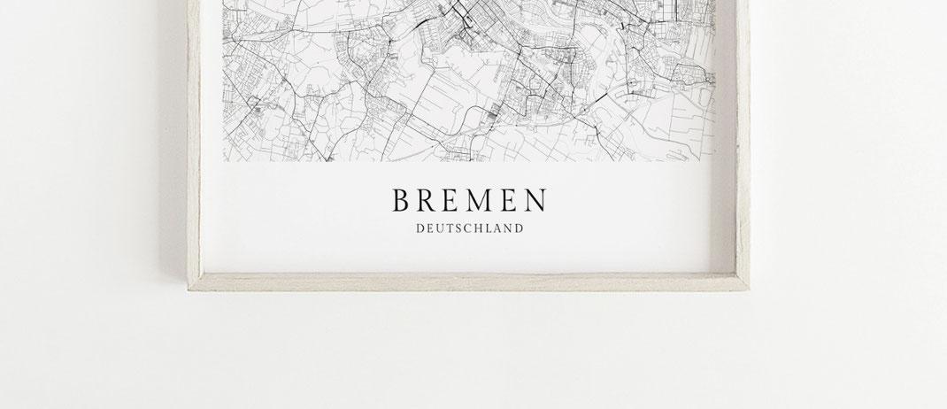 Bremen Karte als Poster