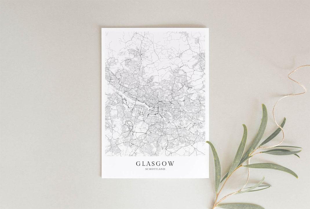 Poster Karte Glasgow im skandinavischen Stil