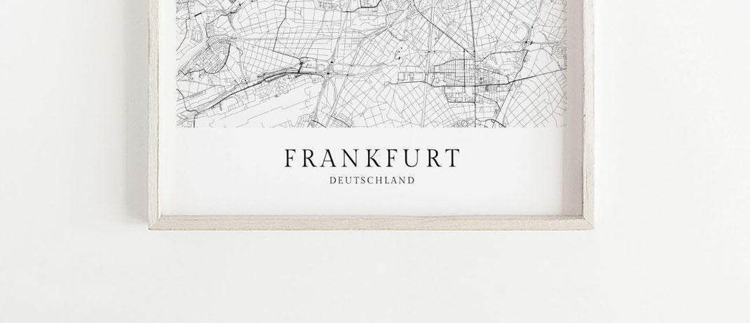 Frankfurt Poster als Map Karte