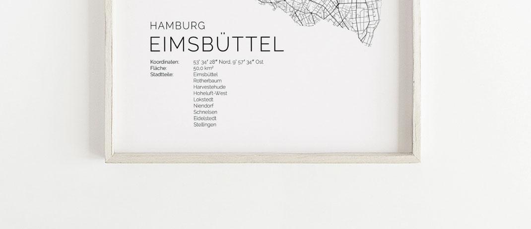 Hamburg Eimsbüttel Karte im skandinavischen Stil