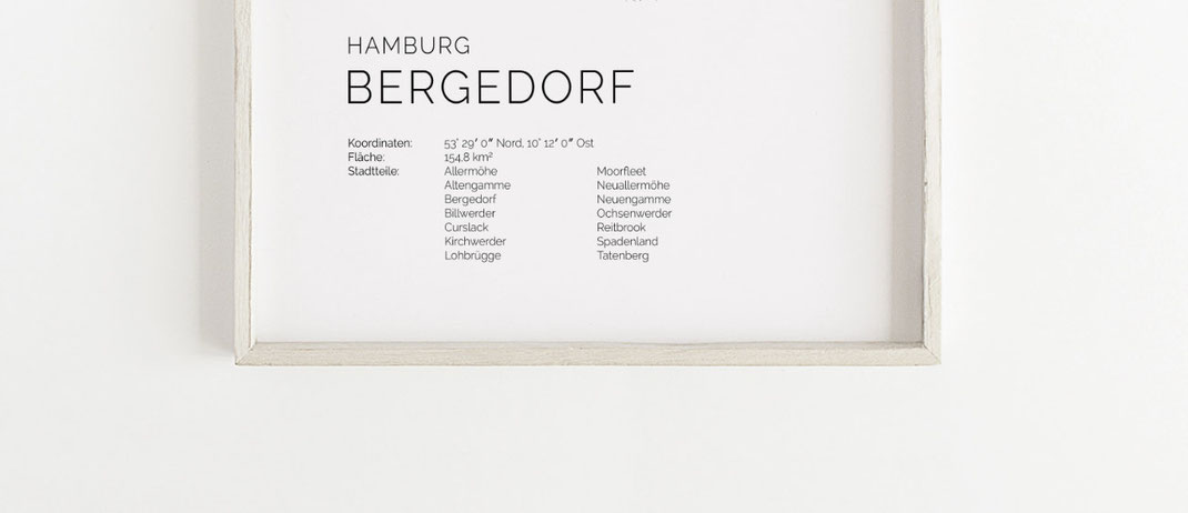 Hamburg Bergedorf Poster Druck Print Map im skandinavischen Stil