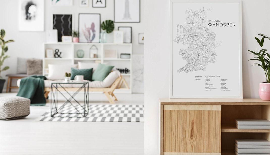 Hamburg Wandsbek Poster druck Karte Map im skandinavischen Stil