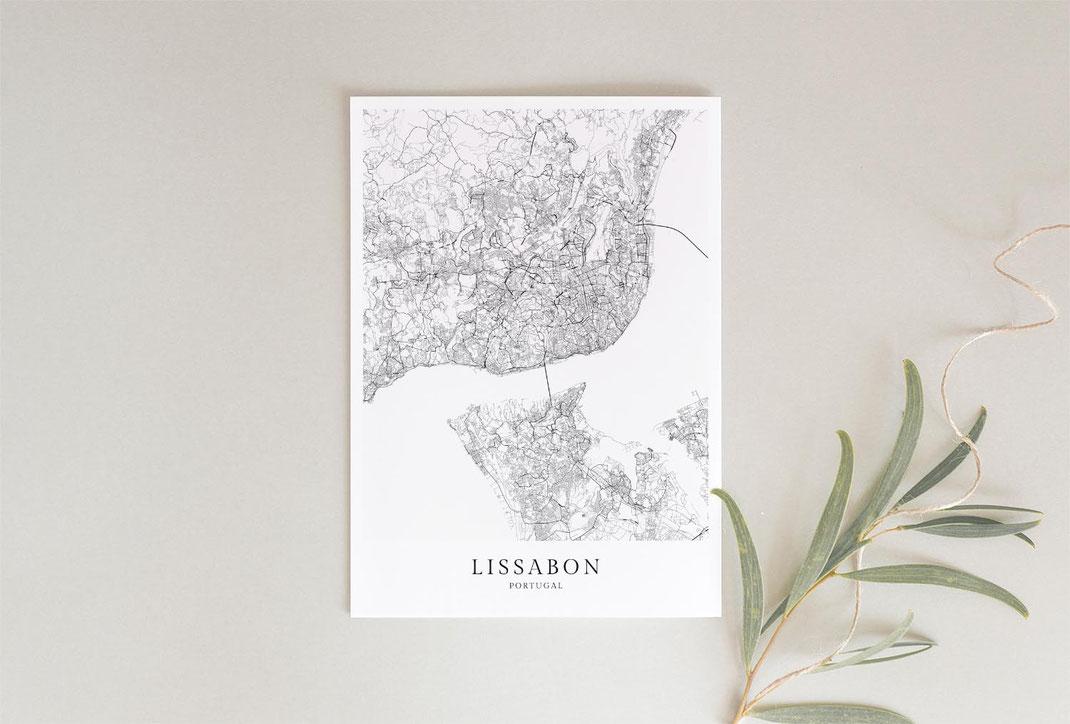 Lissabon als Karte Poster Geschenk