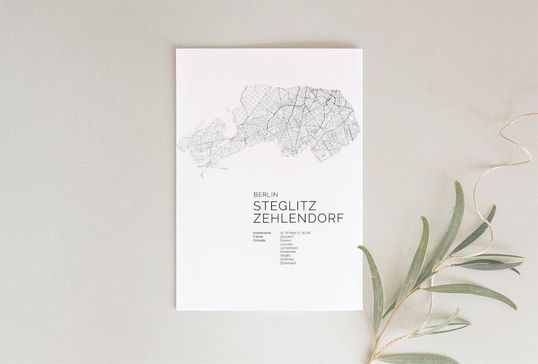 Berlin Zehlendorf Poster als Geschenkidee Map
