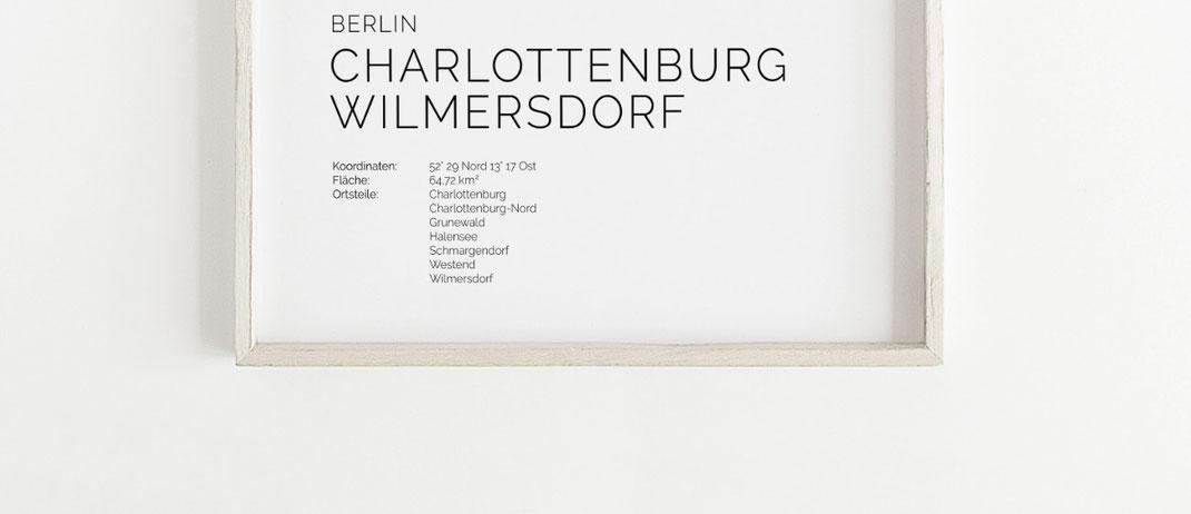 Berlin Charlottenburg Wilmersdorf Map Karte Poster