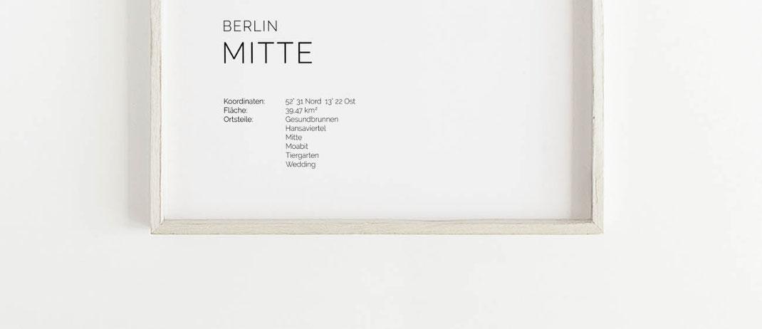 Berlin Mitte Karte als Poster Map