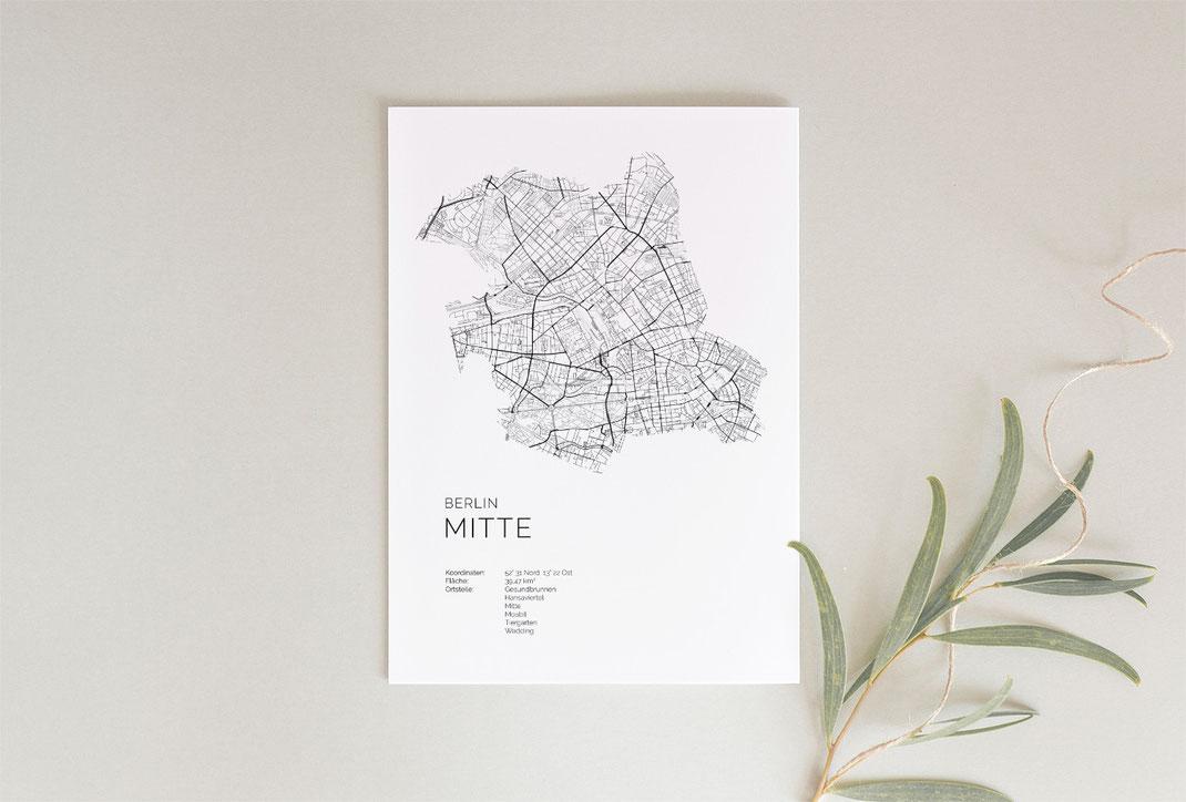 Berlin Mitte Karte als Geschenkidee