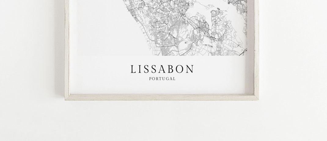Lissabon Portugal Karte im skandinavischen Stil