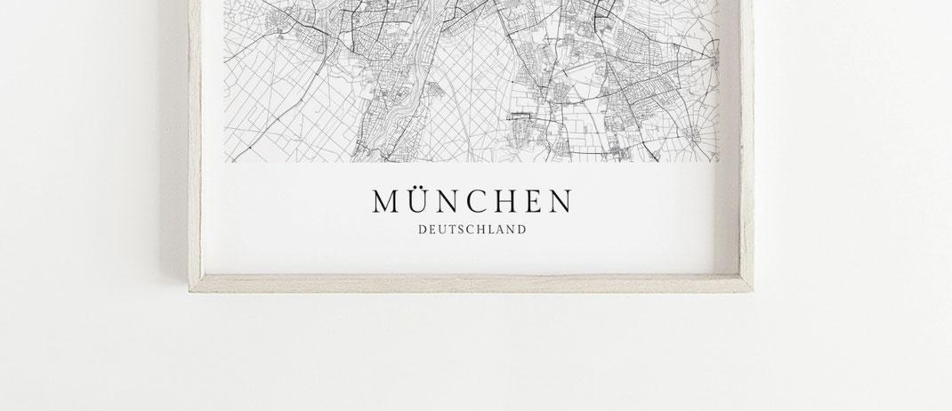 Stadt München Poster Karte im skandinavischen Stil