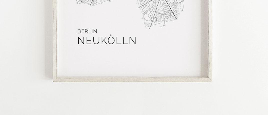 Poster Karte Berlin Neukölln