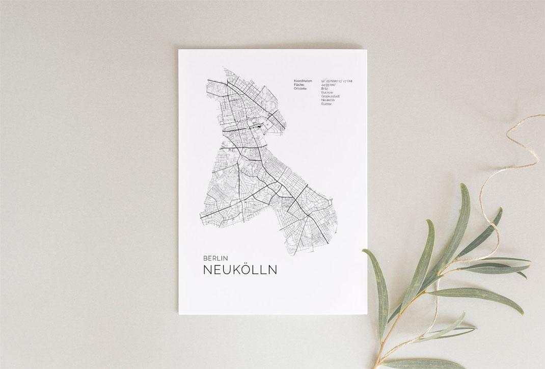 Berlin Neukölln Poster Map Karte als Geschenkidee