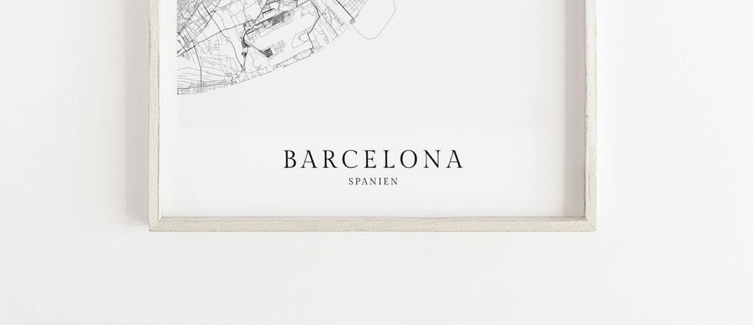 Barcelona Spanien Poster Karte als Geschenk