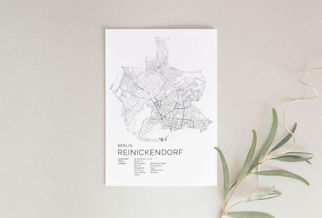 Berlin Reinickendorf Karte als Geschenkidee
