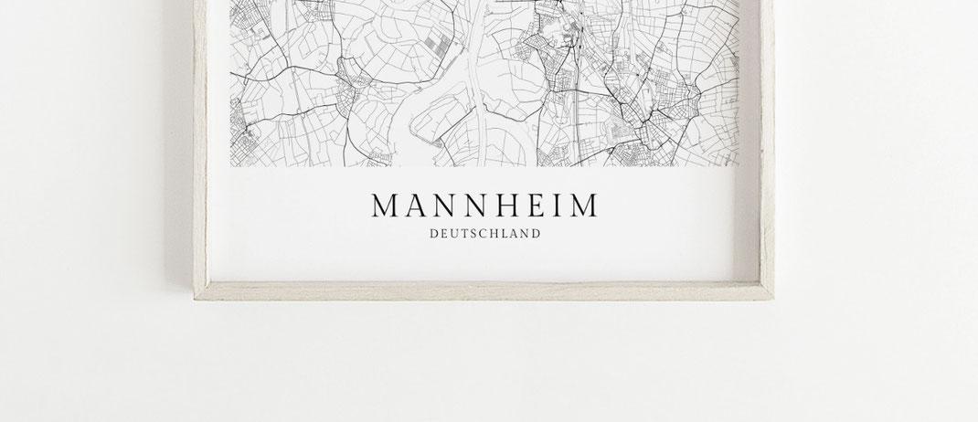 Mannheim Karte als Poster im skandinavischen Stil