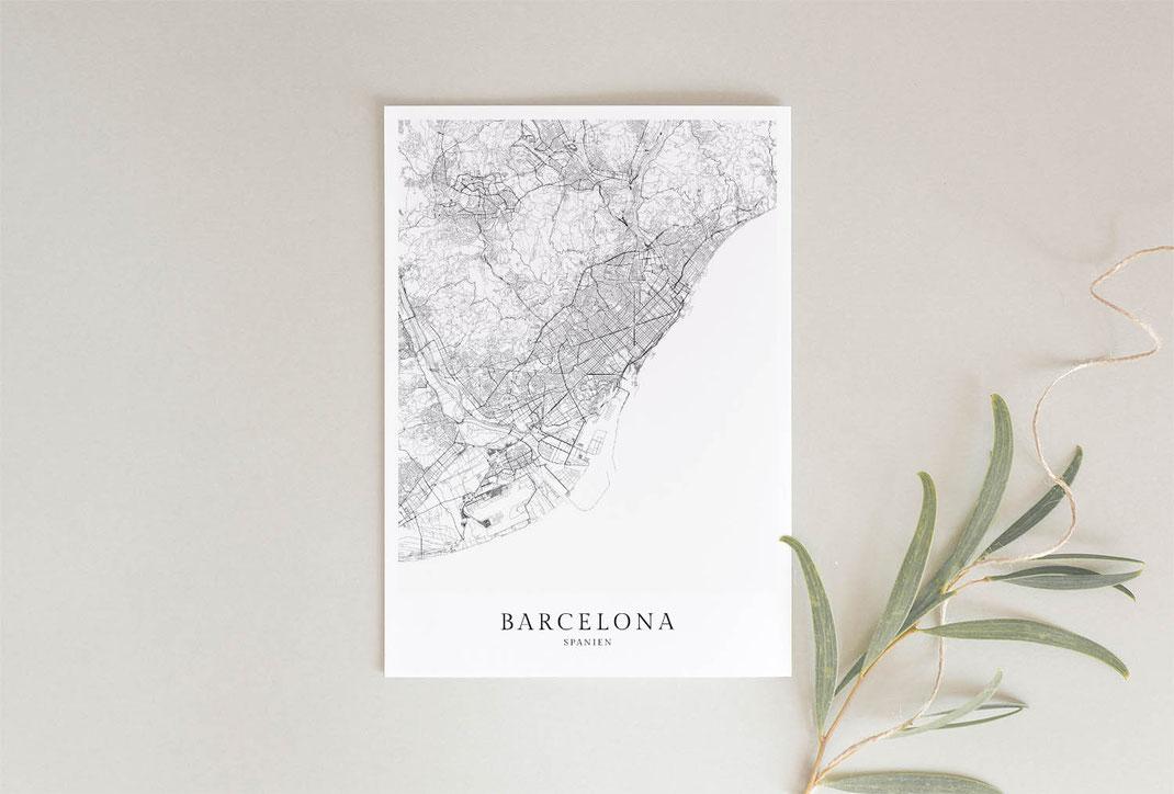 Poster Karte Barcelona im skandinavischen Stil