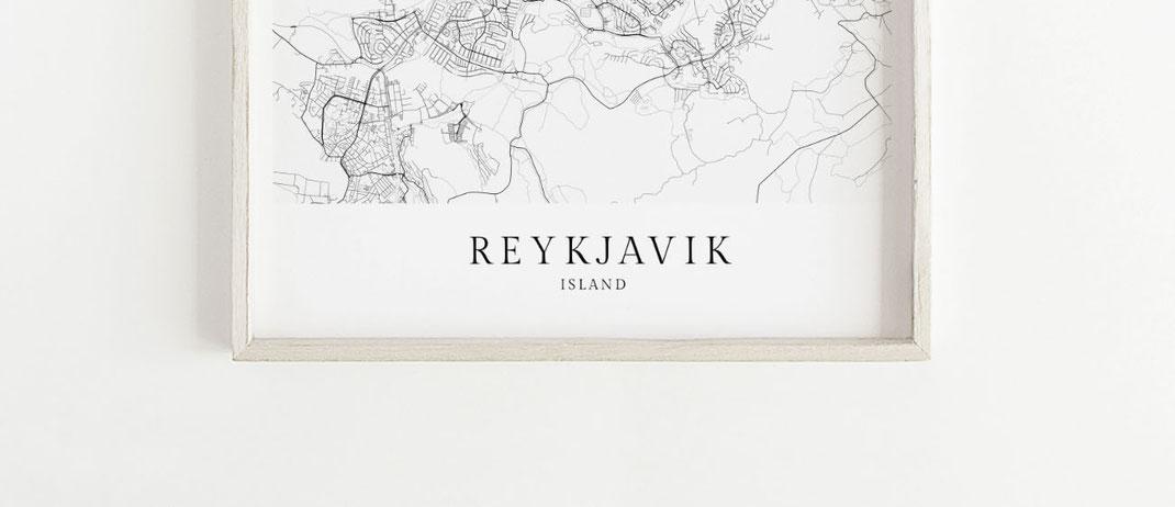 Poster Karte Reykjavik Skandinavischer Stil
