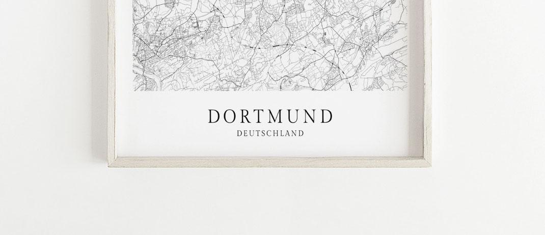 Poster Dortmund Karte im skandinavischen Stil