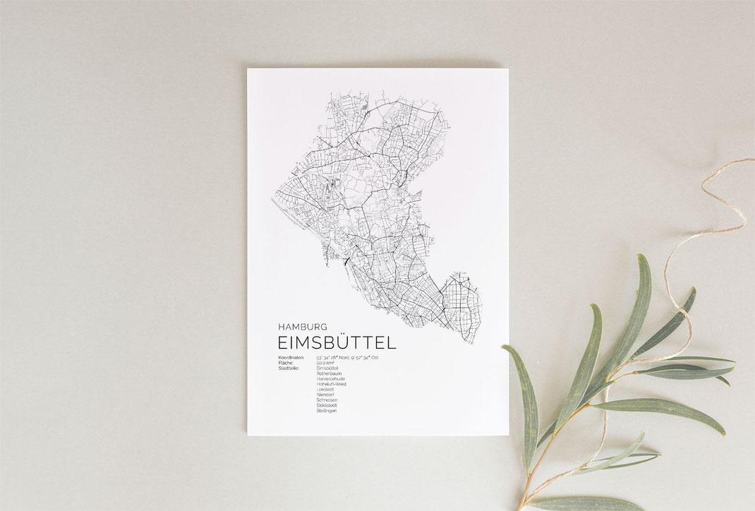 Hamburg Eimsbüttel Karte Map Poster Print