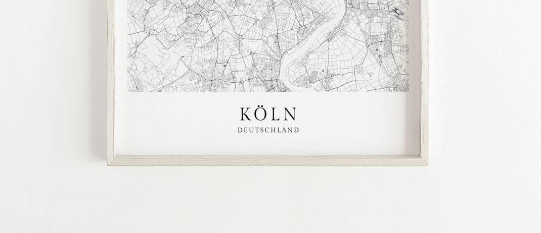 Köln Karte Deutschland.Karte Köln Poster