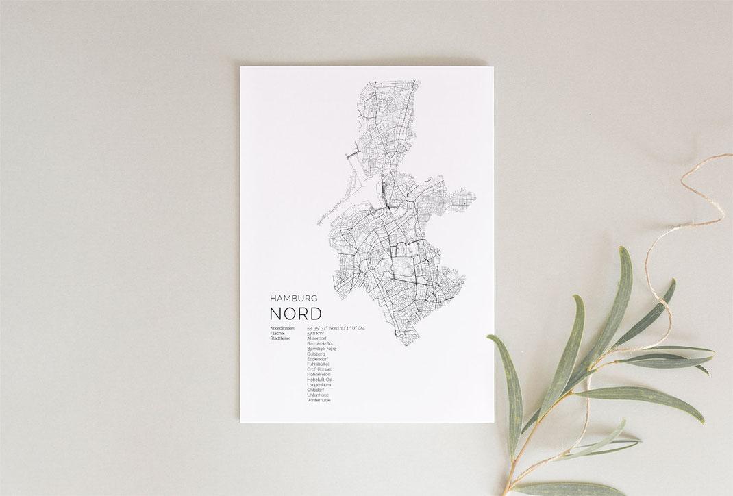Poster Hamburg Nord im skandinavischen Stil