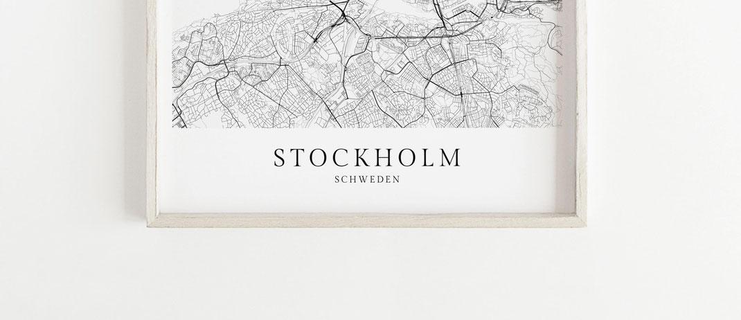 Poster Karte Stockholm Map Print