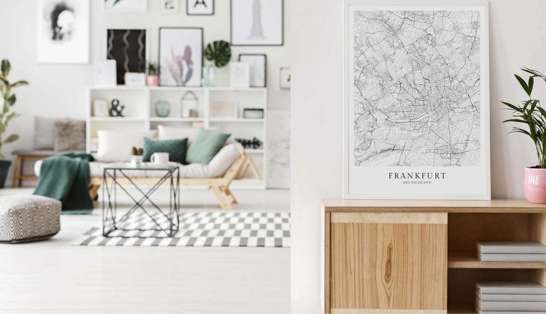 Frankfurt Karte im skandinavischen Stil