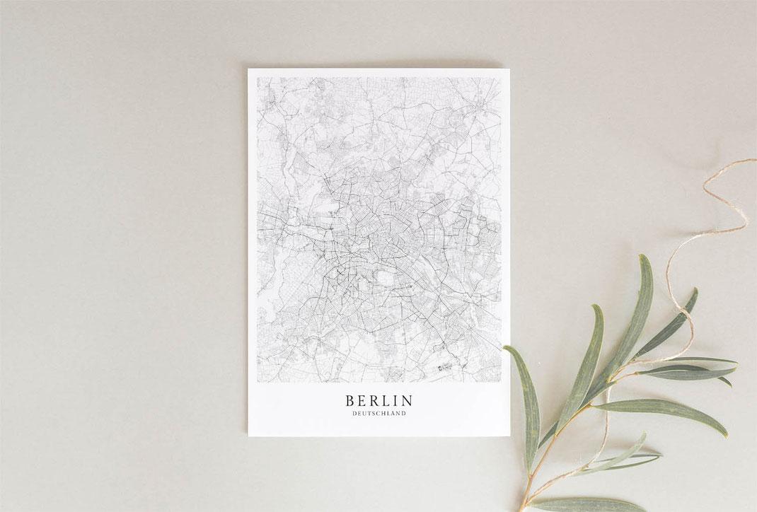 Berlin Karte Stadt Poster im skandinavischen Stil