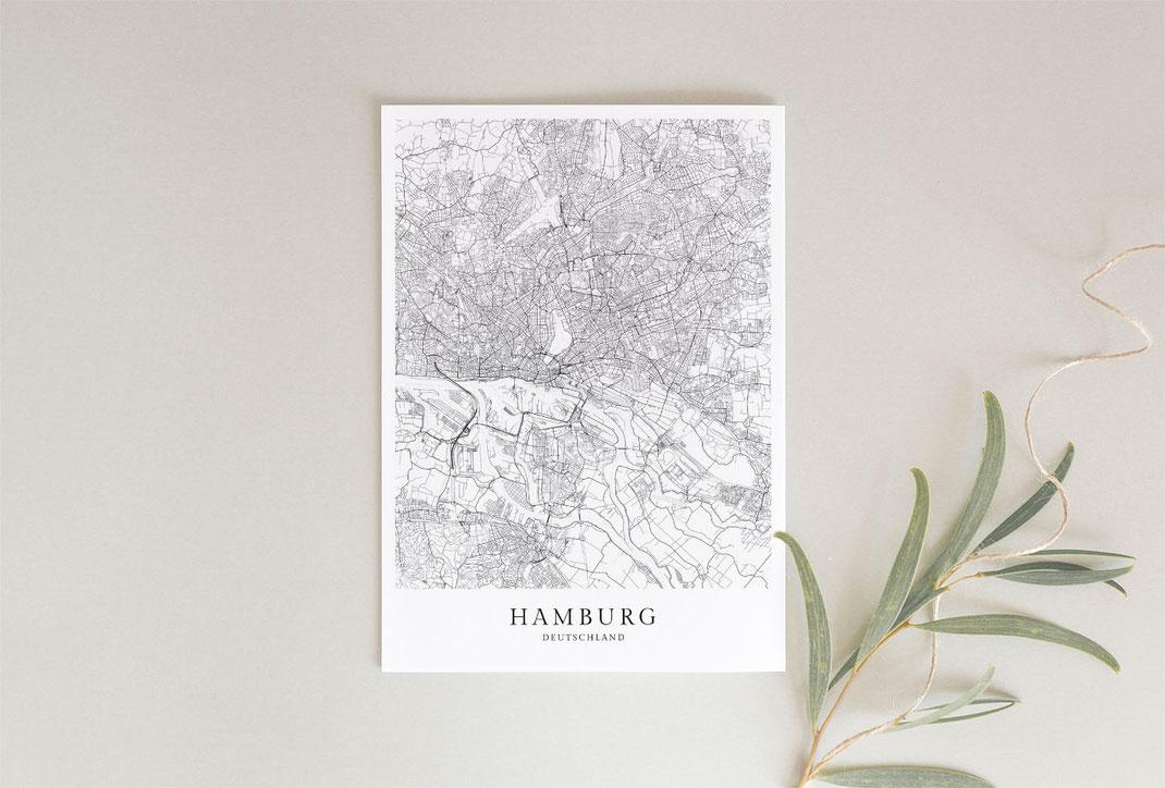 Hamburg Poster im skandinavischen Stil