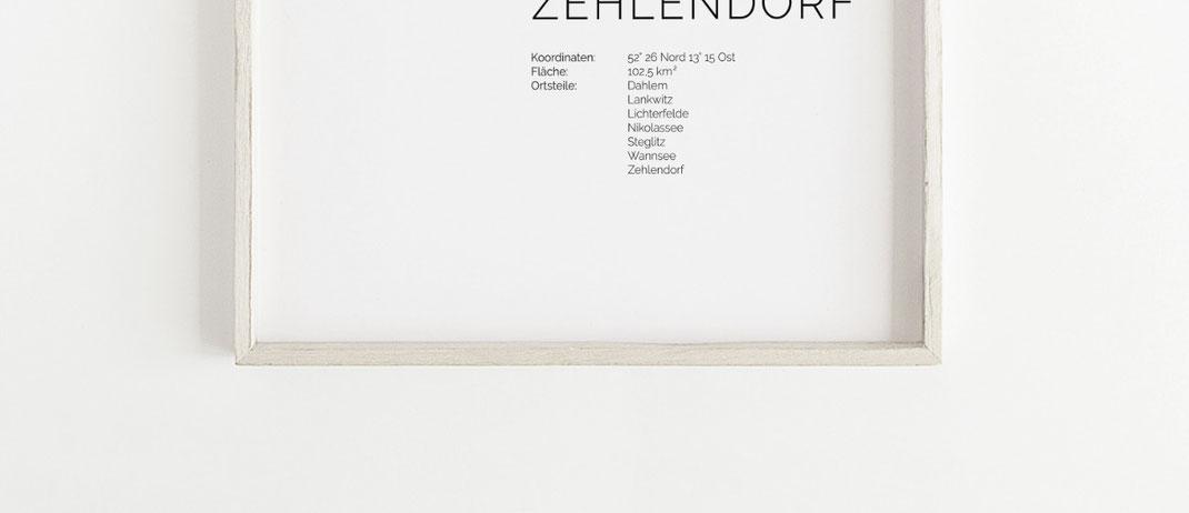 Poster Karte Zehlendorf im skandinavischen Stil