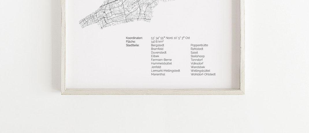 Hamburg Wandsbek Karte Poster Print