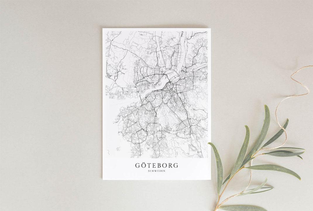 Poster Karte von Göteborg im skandinavischen Stil