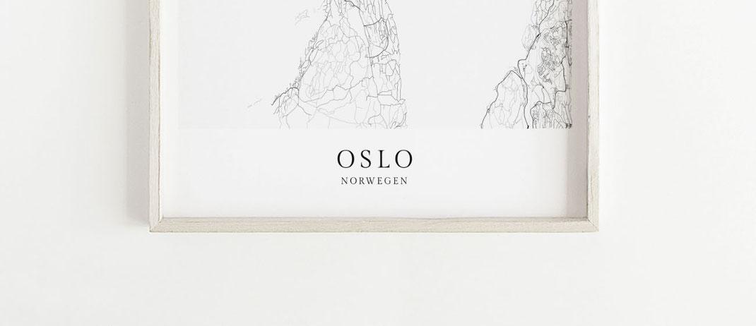 Norwegen Poster Oslo als Geschenk