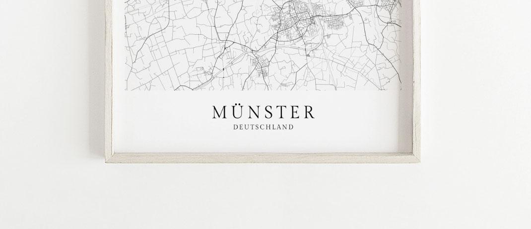 Poster Karte Münster im skandinavischen Stil