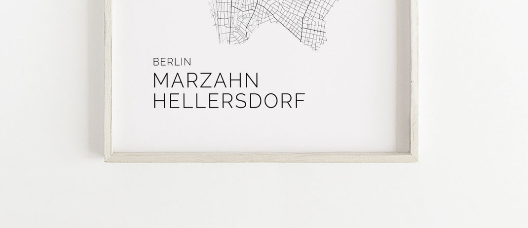 Poster Print Marzahn Hellersdorf Karte als Geschenkidee