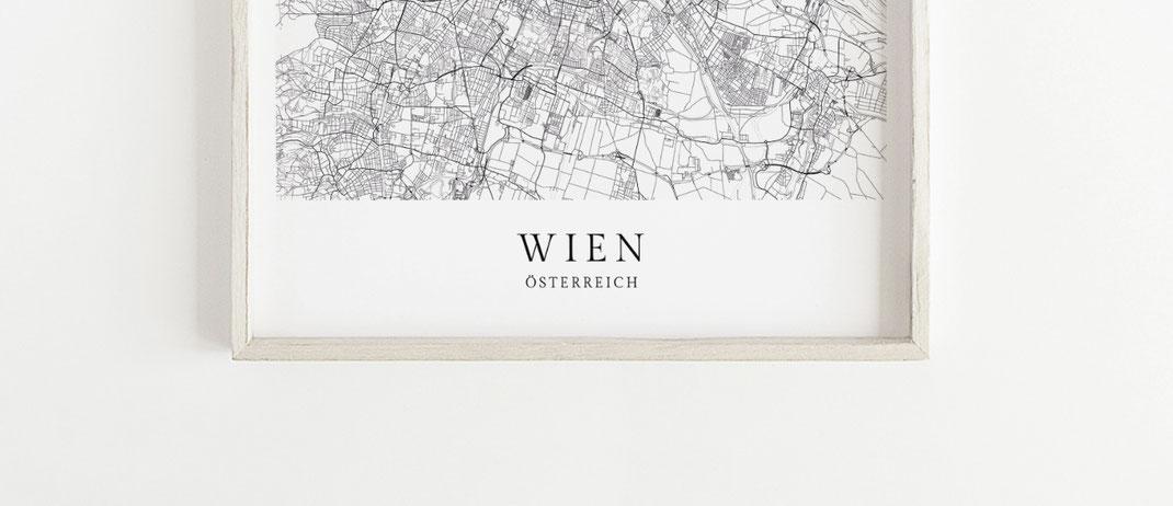 Wien Karte als Poster im skandinavischen Stil