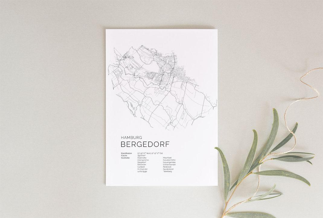 Hamburg Bergedorf Map Print Poster im skandinavischen Stil
