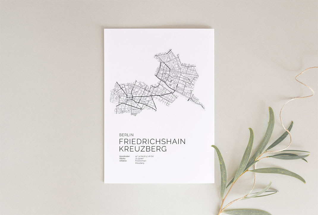 Berlin Friedrichshain Kreuzberg  Karte Poster als Geschenkidee