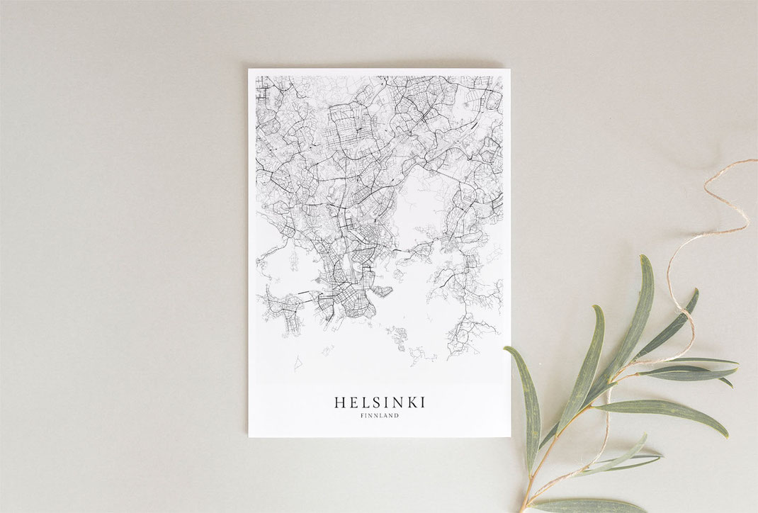Helsinki Karte als Poster