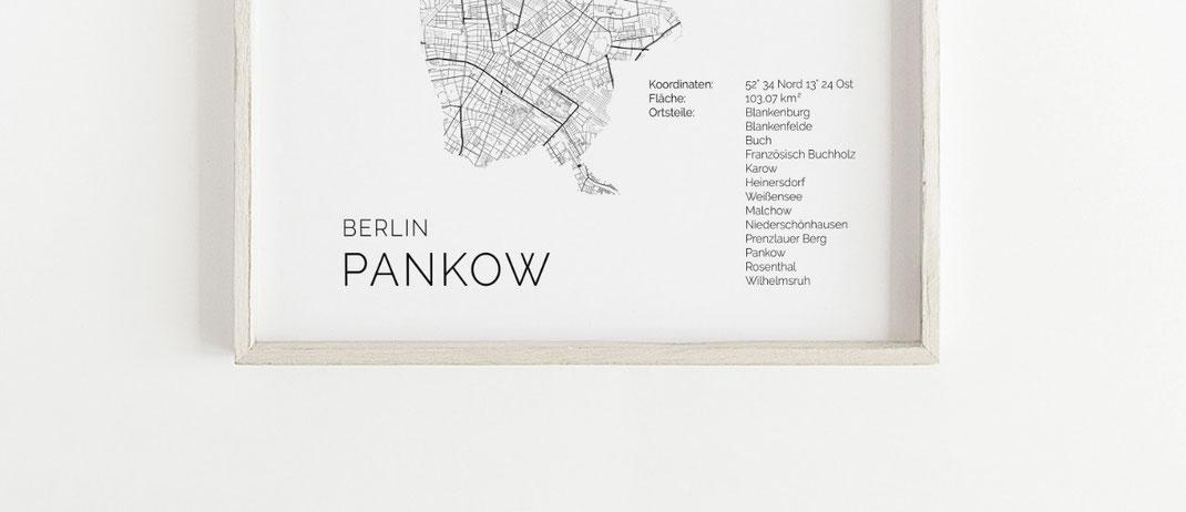 Berlin Pankow Poster Karte im skandinavischen Stil