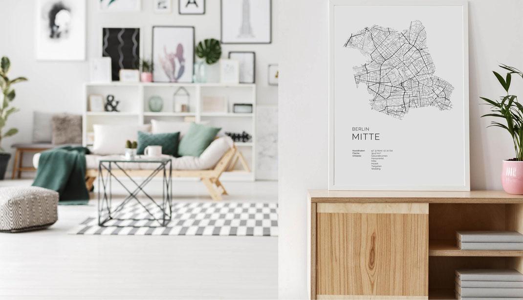 Berlin Mitte als Poster Karte im skandinavischen Stil