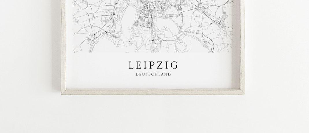 Map Leipzig Karte als Poster
