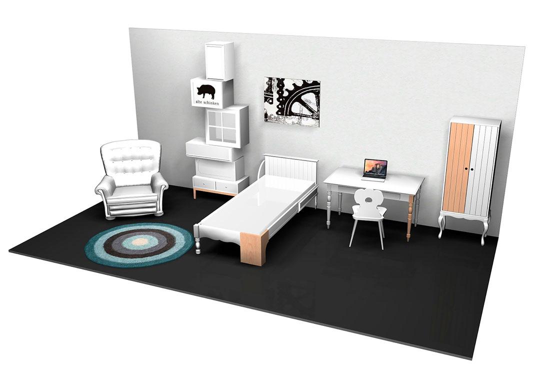 Hostel am Niederfeldsee - 3D Entwurf von einem Hostelzimmer von Sven Stornebel - Sampling