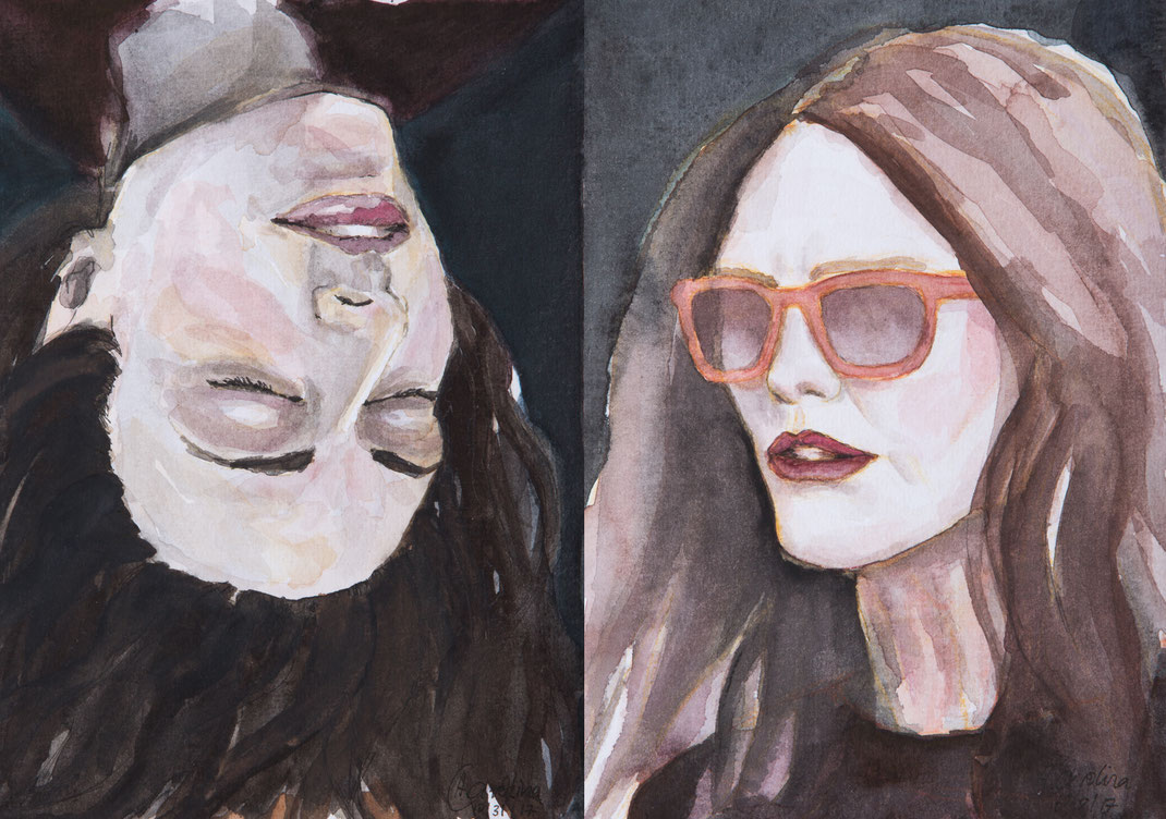 Andrea Carolina Kunst Köln Julianne Moore Sunglases New York Marlene Dumas Art Cologne Watercolor portrait