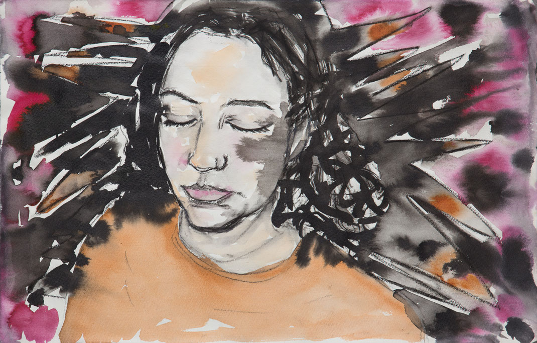 Andrea Carolina Kunst Köln sensual New York  Art Cologne  Ehrenfeld Watercolor portrait