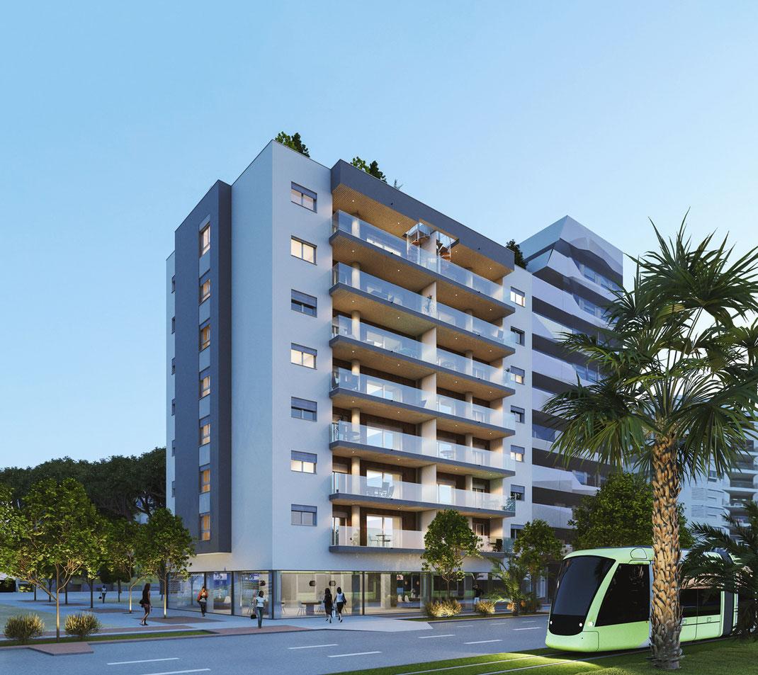Render arquitectura. Edificio de viviendas