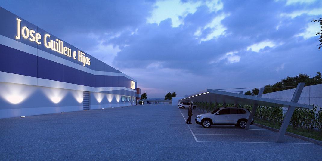 Infografía 3D nave industrial Alicante