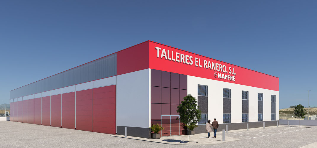 3D nave industrial. Render nave industrial 3D. Murcia. Alicante. Madrid. Barcelona