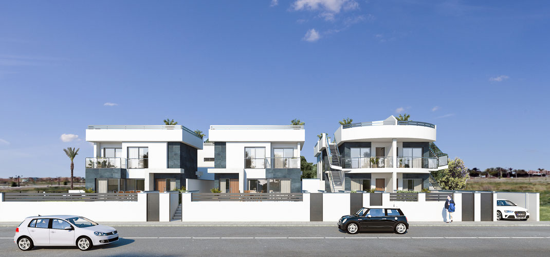 Infografía arquitectura. Urbanización en el Mar Menor. Murcia. Madrid. Marbella.