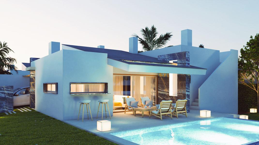 Render arquitectura. Chalet en el Mar Menor. Murcia.